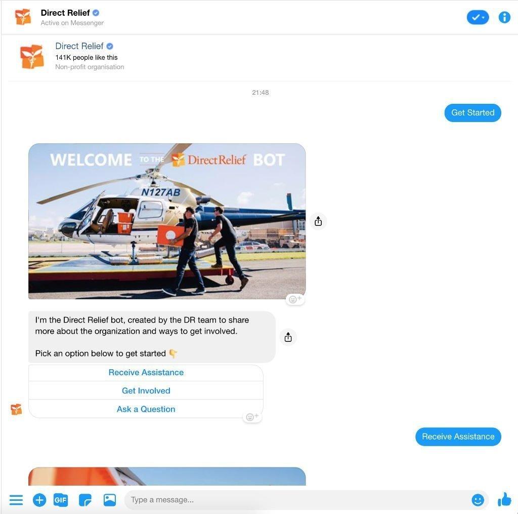 Chatbot Beispiel Direct Relief - erste Hilfe und mehr