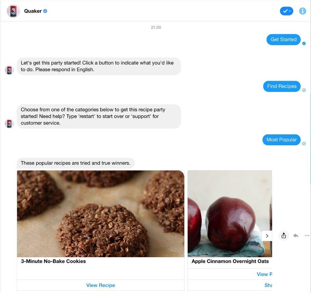 Chatbot Beispiel Quaker Oat im Facebook Messenger